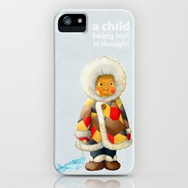 a child being lost in thought iPhone Case