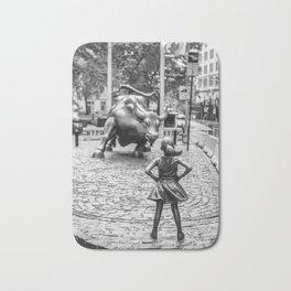Fearless Girl & Charging Bull in the rain Bath Mat