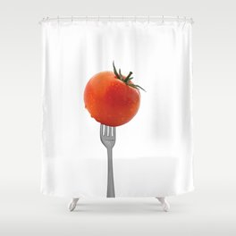 Fork with tomato - white Shower Curtain