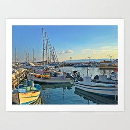 Off the old Acre, or AKKA port, for the old city. Art Print