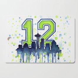 Seattle 12th Man Art Skyline Watercolor Cutting Board