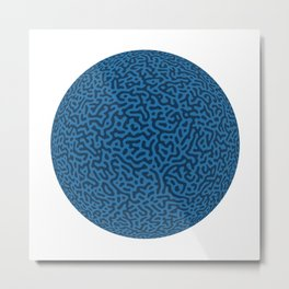Turing Pattern Sphere (Blue) Metal Print