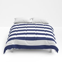 Navy Blue and White Stripes Comforters