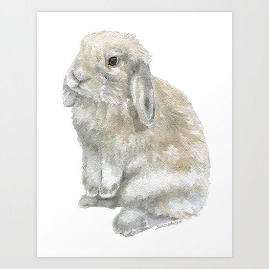 Lop Rabbit Watercolor Painting Bunny by susanwindsor