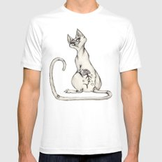 Cats with Tats v.1 MEDIUM White Mens Fitted Tee