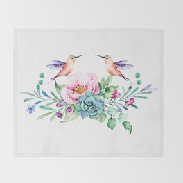 Tropical flowers & Love Birds Throw Blanket