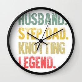 Funny Men Vintage T Shirt Husband Step Dad Knotting Legend Wall Clock