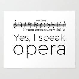 I speak opera (mezzo-soprano) Art Print
