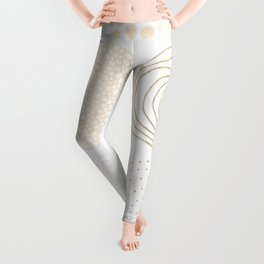 Simply Mod Circles in White Gold Sands on White Leggings