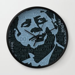 John F Kennedy and Quote Wall Clock