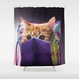 Cat in bag Shower Curtain