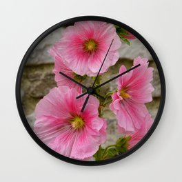 Pretty Pink Hollyhocks Wall Clock