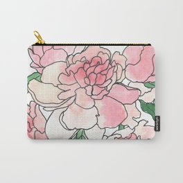 Pink Peony Watercolor Painting Carry-All Pouch