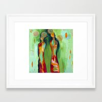 """flora bowley Framed Art Prints featuring """"Two Flowers"""" Original Painting by Flora Bowley by Flora Bowley"""