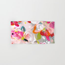 Dream flowers in pink rose floral abstract art Hand & Bath Towel