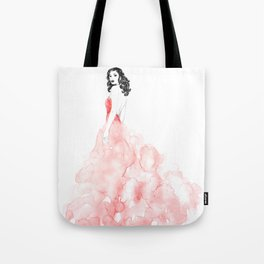 Fashion illustration pink long gown Tote Bag