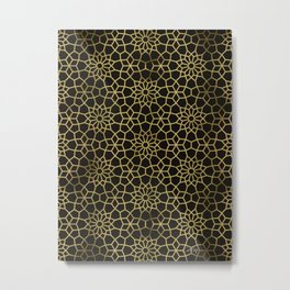 Persian Mosaic – Black & Gold Metal Print