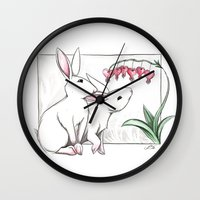 rabbits Wall Clocks featuring Rabbits by LyndaParker