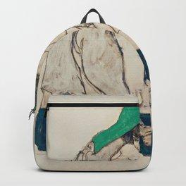 Egon Schiele - Crouching Woman with Green Headscarf Backpack