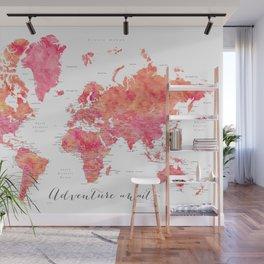 "Adventure Awaits watercolor world map in hot pink and orange, ""Tatiana"" Wall Mural"