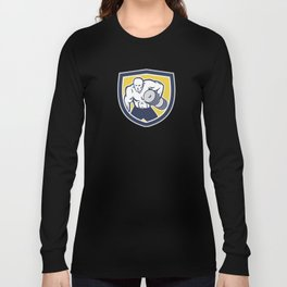 Strongman Lifting Dumbbells Front Shield Retro Long Sleeve T-shirt
