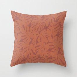 Monstera Leaves in Burnt Orange Throw Pillow