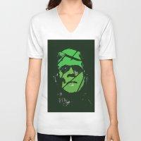 frankenstein V-neck T-shirts featuring Frankenstein by Bryce Reynolds