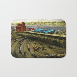 American Masterpiece 'Railroad Yard Along the River' by Lamar Dodd Bath Mat
