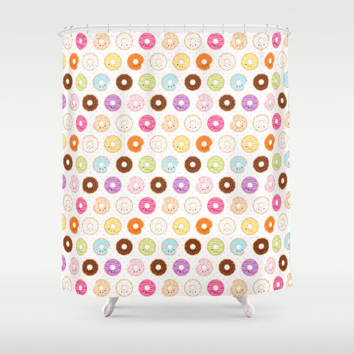 Happy Cute Donuts Pattern Shower Curtain