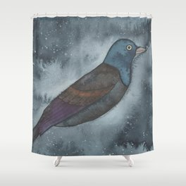 Common Grackle - Third Eye Chakra - Watercolor Painting Shower Curtain