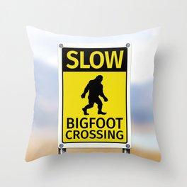 Bigfoot Crossing Sign Throw Pillow