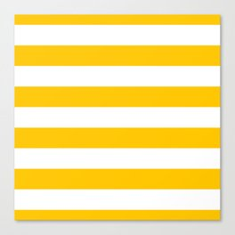 Aspen Gold Yellow and White Wide Horizontal Cabana Tent Stripe Canvas Print
