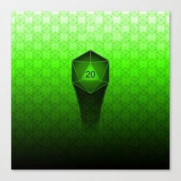 D20 All I Do Is Crit!  Green Ombre Canvas Print