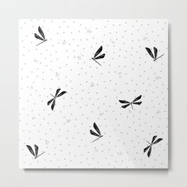 Black Dragonfly Christmas seamless pattern and Grey Confetti on White Background Metal Print