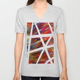 Colorful Chaos - White Stripes Unisex V-Neck