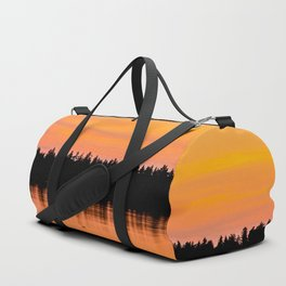 Orange Sunset With Forest Reflection On Lake Duffle Bag