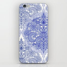 Happy Place Doodle in Cornflower Blue, White & Grey iPhone Skin