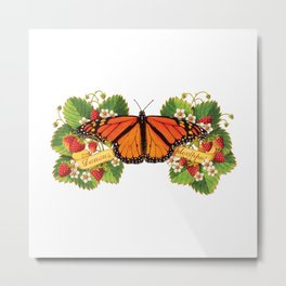 Monarch Butterfly with Strawberries Illustration Metal Print