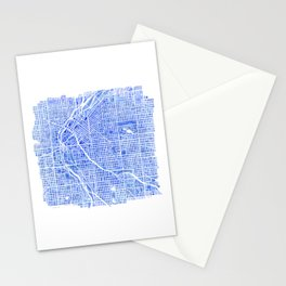Denver Blueprint City Map Watercolor Stationery Cards