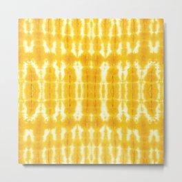 Yellow Linen Shibori Stripe Metal Print
