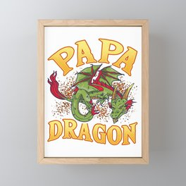 Fearsome Papa Dragon Dad Father's Day Fantasy Framed Mini Art Print