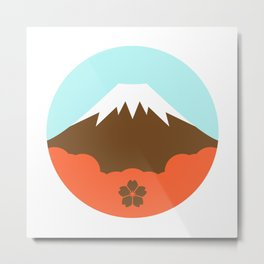 Mt. Fugi (White) Metal Print