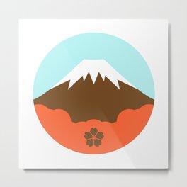 Mt. Fugi (White) Metal Print