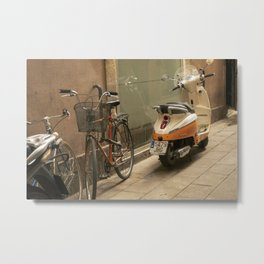 Bikes and a Scooter on Old Road Metal Print