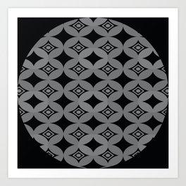 Kawung Black (Batik) Art Print