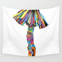 socks Wall Tapestries featuring Happy Ballerina by Heaven7