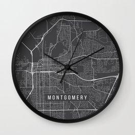 Montgomery Map, USA - Gray Wall Clock