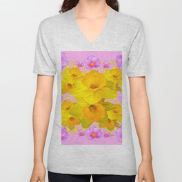 Yellow Daffodils & Pink Roses Abstract Unisex V-Neck