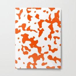 Large Spots - White and Dark Orange Metal Print