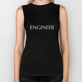 """ENGINEER"" in white letters on a black background. Biker Tank"